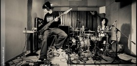 Lonnie y yo grabando los grooves, 2012, sacados por Benetucci.